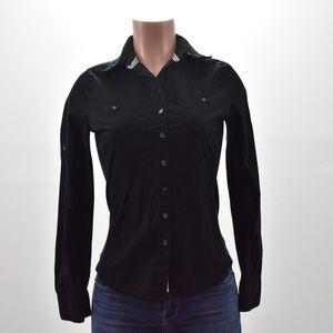 Converse Button Long Sleeve Top Black Size XS